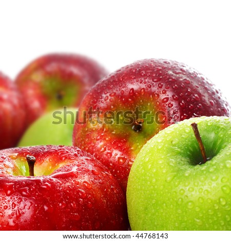 Green and red wet apples - stock photo