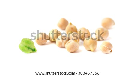 Green and ripe bean chickpea - stock photo