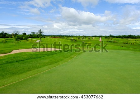 green and sand bunker in golf course landscape northern of Thailand