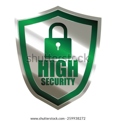 green and silver metallic high security badge, shield, sticker, sign, stamp, icon, label isolated on white - stock photo