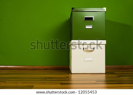 Green and white box - stock photo