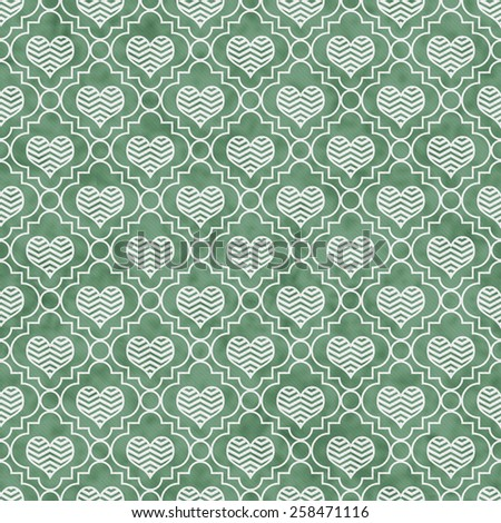 Green and White Chevron Hearts Tile Pattern Repeat Background that is seamless and repeats - stock photo