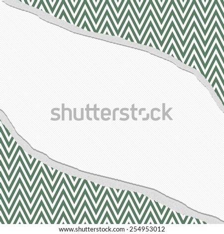 Green and White Chevron Zigzag Frame with Torn Background with center for copy-space, Classic Torn Zigzag Chevron Frame - stock photo