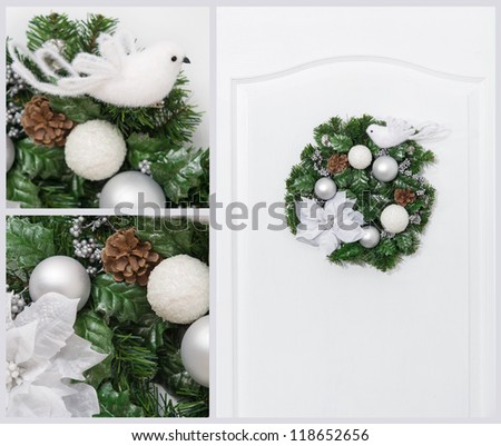 Green and white collage of Christmas artificial pine wreath with berries and cones - stock photo