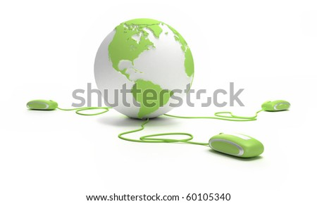 Green and white Earth Globe connected with three computer mice. - stock photo