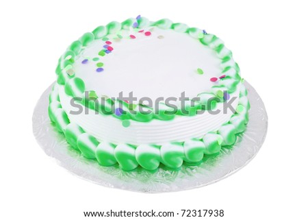 Green and white frosted blank festive cake great for any occasion like a birthday or easter - stock photo