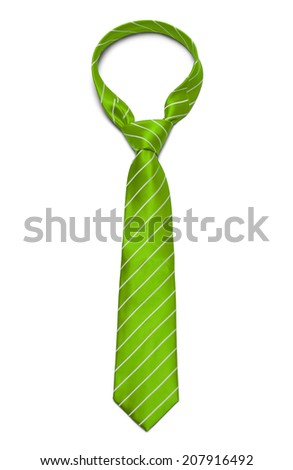 Green and White Striped Tie Isolated on White Background. - stock photo