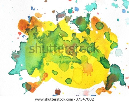 green and yellow abstract paint background splatter - stock photo