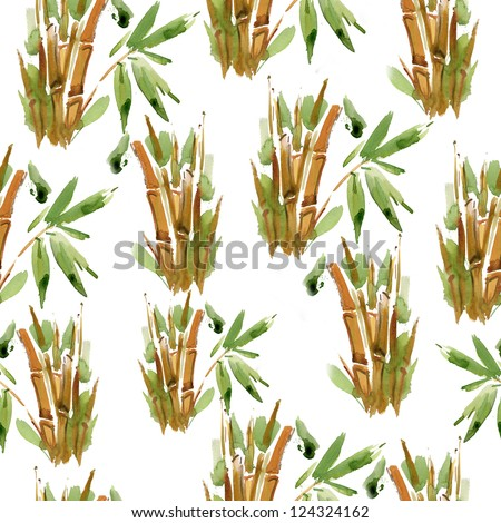 green and yellow bamboo pattern. watercolor - stock photo