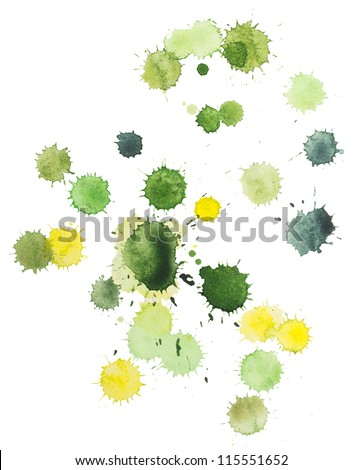 Green and yellow blots. Watercolor