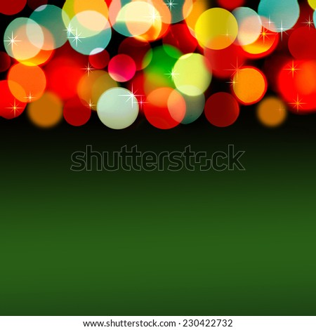 Green and yellow bokeh. Abstract Christmas background - stock photo