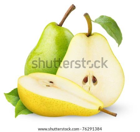 Green and yellow pears isolated on white - stock photo