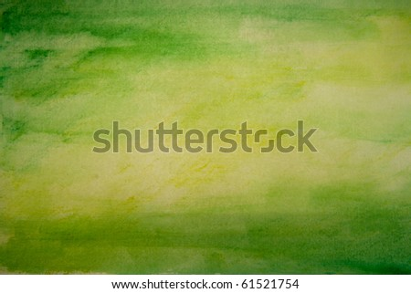 Green and Yellow Water Color Paint Texture - stock photo