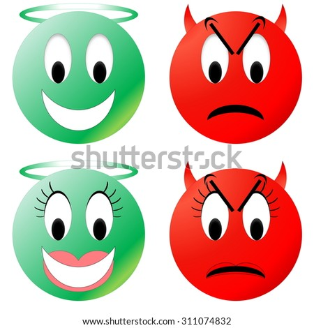 Green angel and red devil smiley, male and female - stock photo