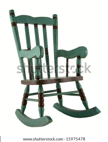 Green antique rocking chair isolated on white background - stock photo