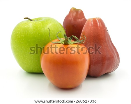 Green Apple and Rose Apple - stock photo