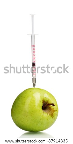 green apple and syringe isolated on white - stock photo