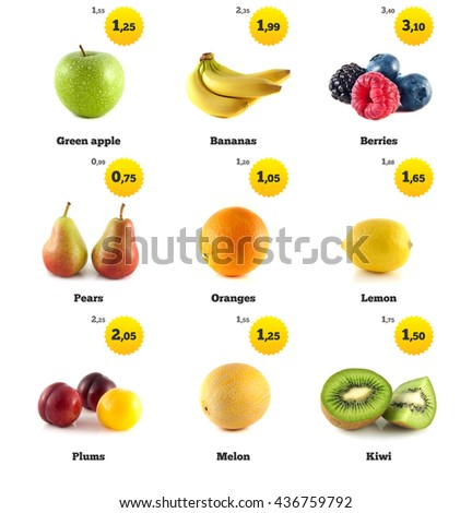 Green apple, banana and lemon. Kiwi, berries and pear. Melon galia, plum and orange isolated. Fresh natural melon. Health organic melon. Food with price tags on white. Fresh tasty melon. - stock photo