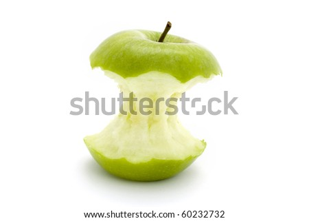green apple core on a white background - stock photo