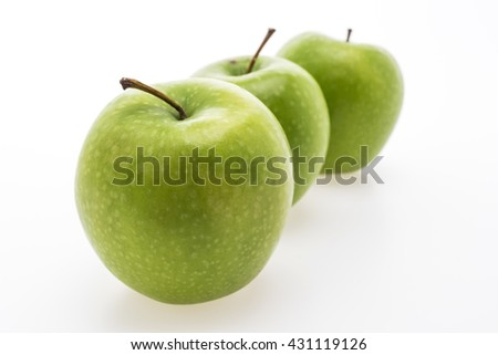 Green apple fruit isolated on white background