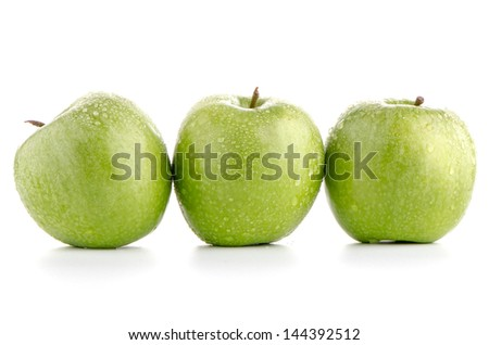 Green apple fruits isolated on white background.