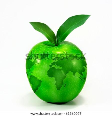 green apple globe - stock photo