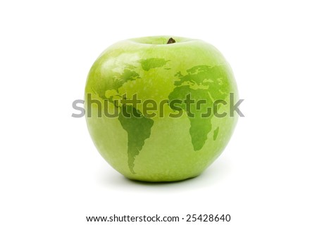 green apple globe. isolated on white
