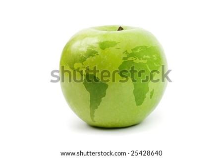 green apple globe. isolated on white - stock photo