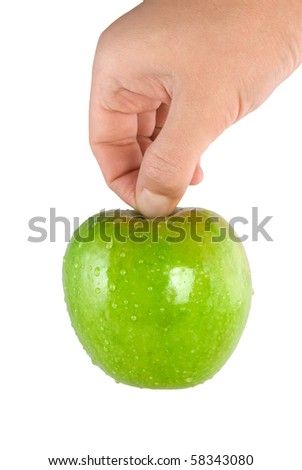 Green apple in hand isolated on white background (Path)