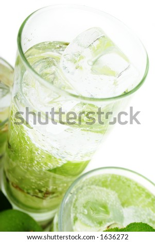 Green Apple in Soda Water (high-key) - stock photo