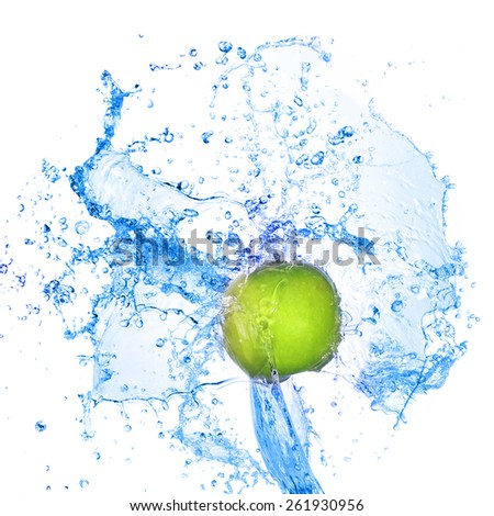 Green apple in splash of water isolated - stock photo