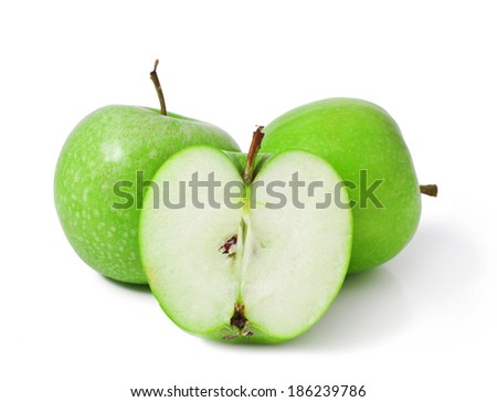 Green Apple isolated over white background  - stock photo