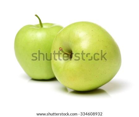 Green apple on white background - stock photo