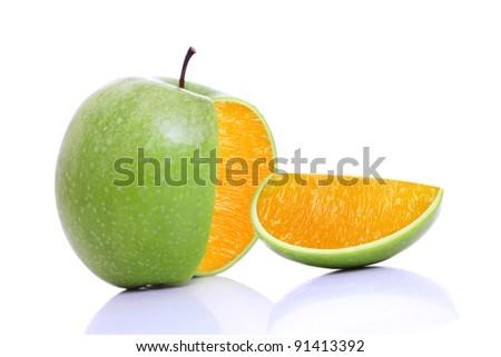 Green apple orange on white background. - stock photo