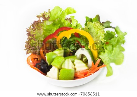Green apple salad in a bowl - stock photo