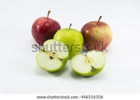 Green apple slice  and red apple isolated on white background.Fruit for health and diet and hi-vitamin c. - stock photo