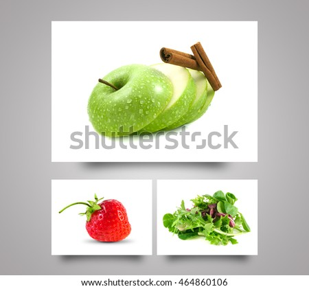Green apple sliced. Healthy diet fruit. Fresh organic food. Green mix salad. Fresh sweet strawberry. Food on white background.