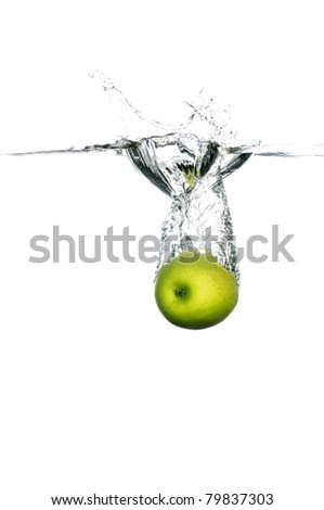 green apple splash into the water