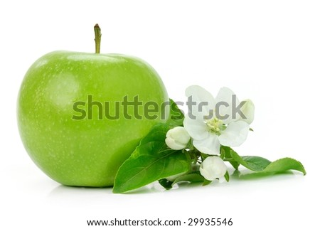Green apple with blossom isolated on white