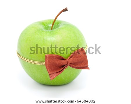 green apple with bow-tie isolated on white background - stock photo