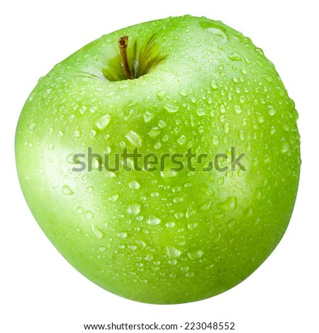 Green apple with drops Isolated on a white background - stock photo