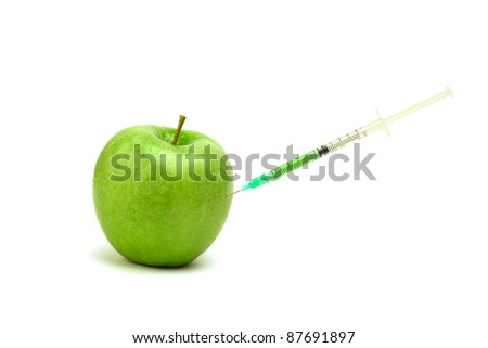Green apple with injection