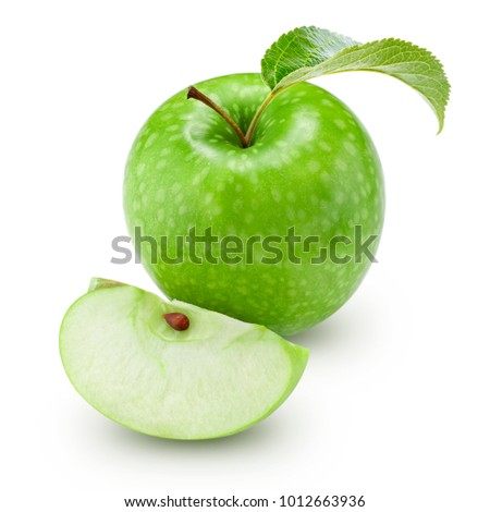 green apple with leaf and slice isolated on a white background. Clipping Path