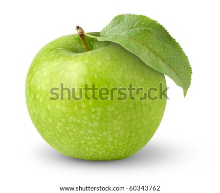 Green apple with leaf isolated on white - stock photo