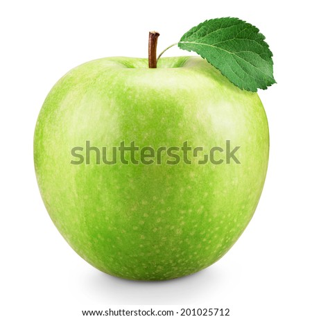 Green apple with leaf isolated on white background  - stock photo