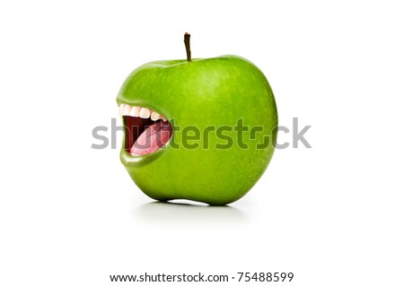 Green apple with open mouth on white - stock photo