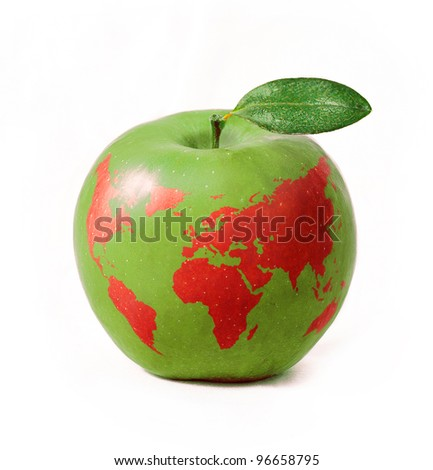 green apple with red world map, isolated on white background - stock photo