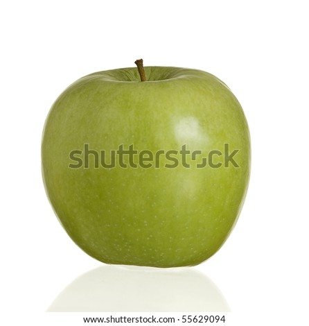 Green apple with reflection on a white background.