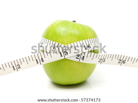 Green apple with tape on whote background