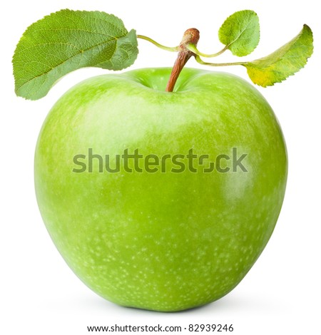 Green apple with three leaves. Isolated on white - stock photo